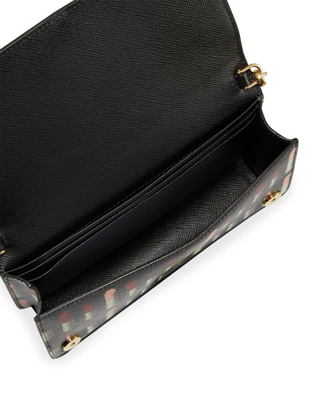 Lipstick-Print Saffiano Crossbody Wallet/Tech Case Bag
