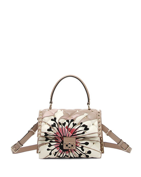 Valentino Garavani Candystud Quilted Flower Top Handle Bag