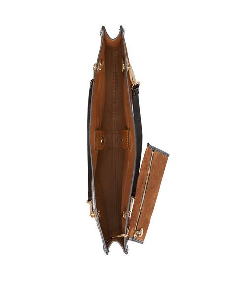 Gucci Linea Rajah Large Suede Shoulder Tote Bag with Patent Trim