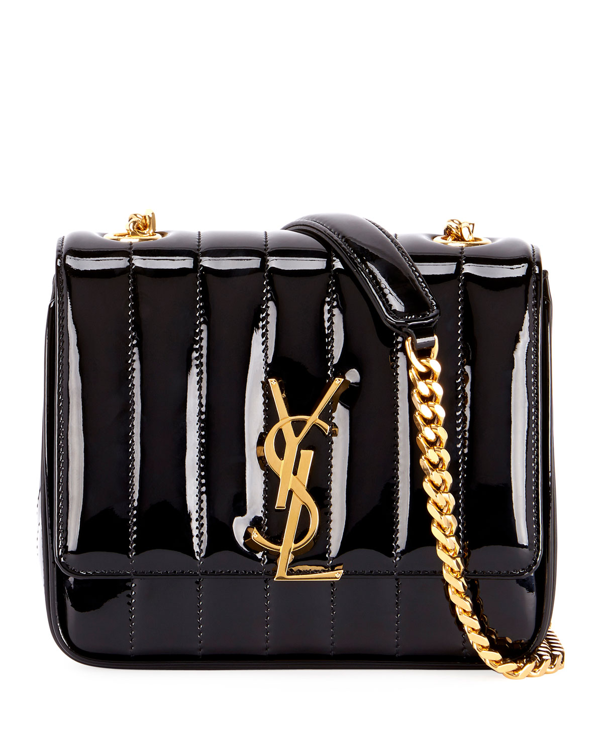 a9c946cac1e Saint Laurent Vicky Monogram YSL Small Quilted Patent Leather Crossbody Bag