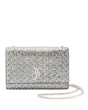 8d6905c97cf3 Saint Laurent Kate Monogram YSL Small Metallic Chevron Fabric Crossbody Bag