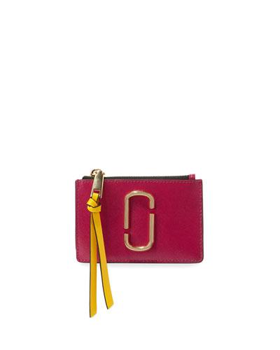 Colorblock Top Zip Card Case Wallet