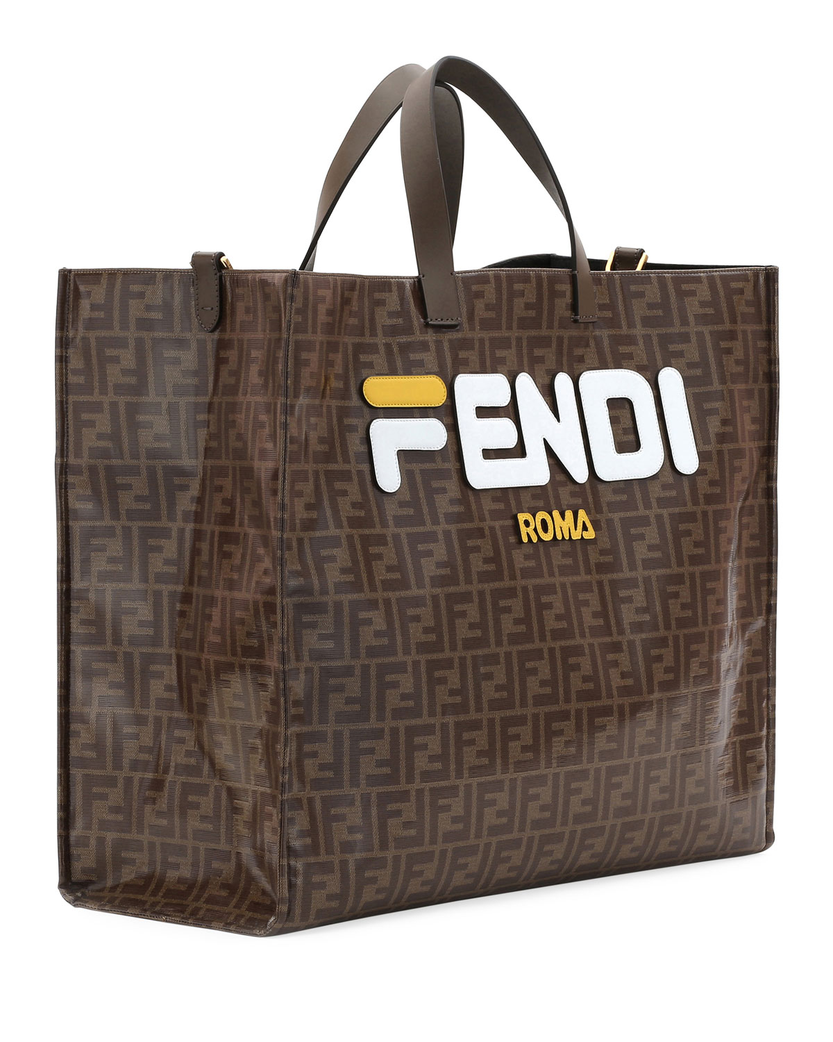 22b101427 Fendi Runway Collection Large Calf and Canvas Tote Bag | Neiman Marcus