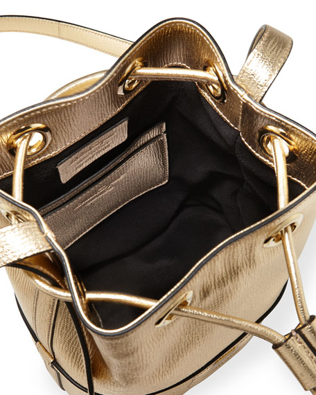 Salvatore Ferragamo Gancio City Metallic Leather Bucket Bag