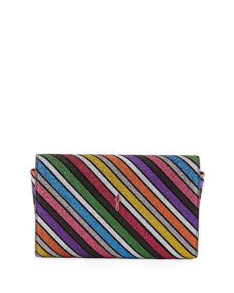 Christian Louboutin Paloma Striped Suede Clutch Bag