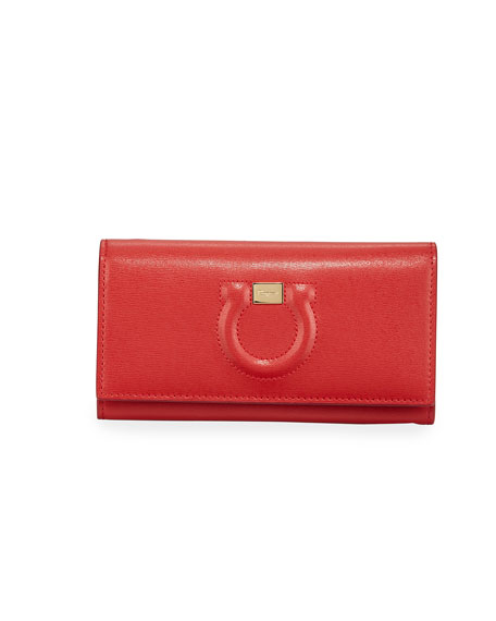 Salvatore Ferragamo Gancio City Wallet On Chain, Red
