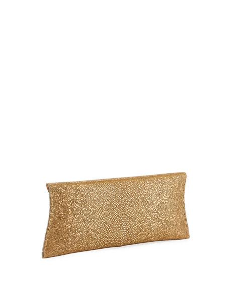 VBH Manila Stretch Stingray Clutch Bag, Gold Leaf