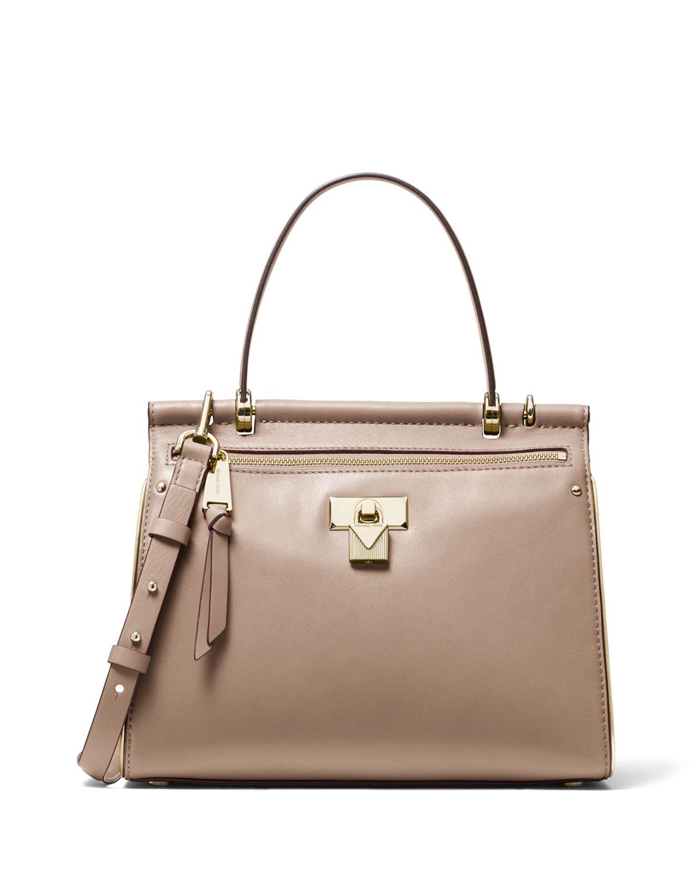9f5033da79e0 MICHAEL Michael Kors Jasmine Medium Leather Satchel Bag | Neiman Marcus