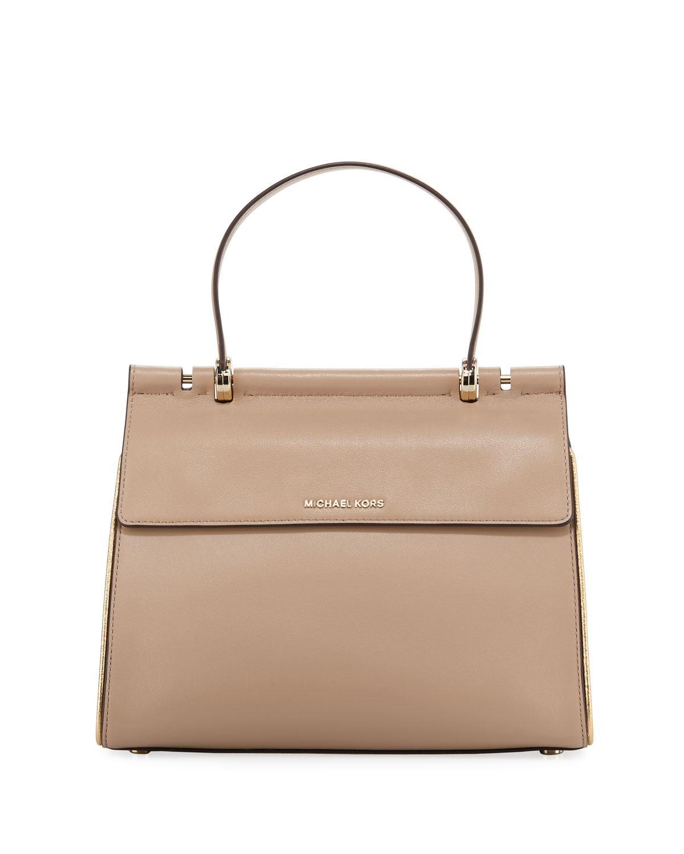 bd8d0b486ee627 MICHAEL Michael Kors Jasmine Medium Leather Satchel Bag | Neiman Marcus