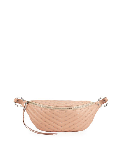 Edie Quilted Sling Belt Bag, Beige