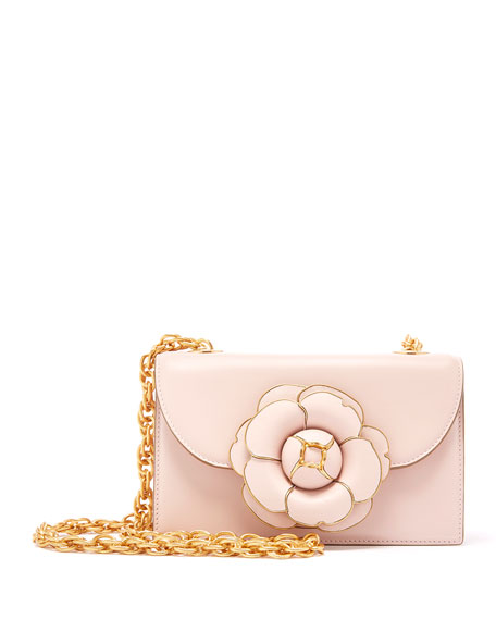 Oscar de la Renta Tro Flower Leather Crossbody Bag - Golden Hardware