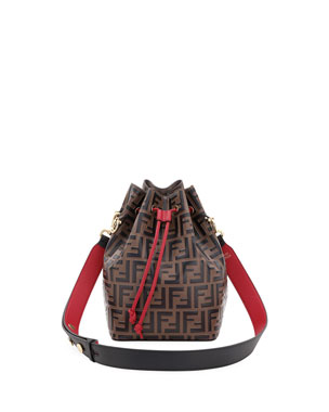22596a1e4642 Fendi Mon Tresor Grande FF Calf Bucket Bag