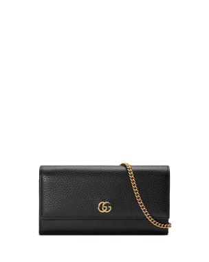 aac3dd5b675d5b Gucci Petite Marmont GG Leather Flap Wallet on a Chain