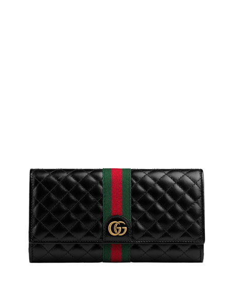 5c31afa73953 Gucci Quilted Flap Continental Wallet with Web | Neiman Marcus