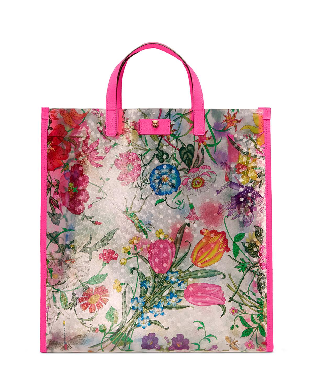 d6f3f853c326 Gucci Techpack Floral-Print Vinyl Tote Bag   Neiman Marcus