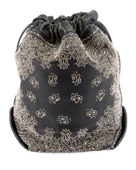 Saint Laurent Teddy Large Bandana Studded Drawstring Bucket Bag