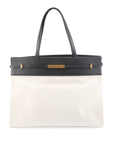 Two Tone Canvas Leather Tote Bag