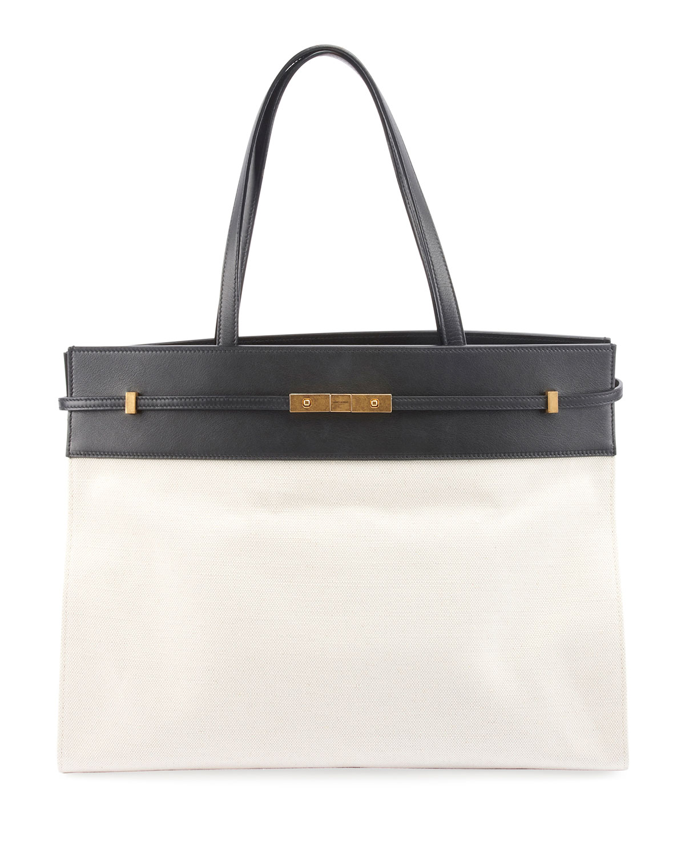 0d8f530d12eb4f Saint Laurent Manhattan Medium Two-Tone Canvas/Leather Tote Bag ...