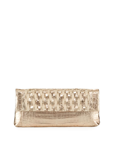 Nancy Gonzalez Gotham Woven Straw Clutch Bag