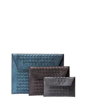 86d6b78219d3a1 Bottega Veneta Three-In-One Nesting Woven Leather Pouch Bags