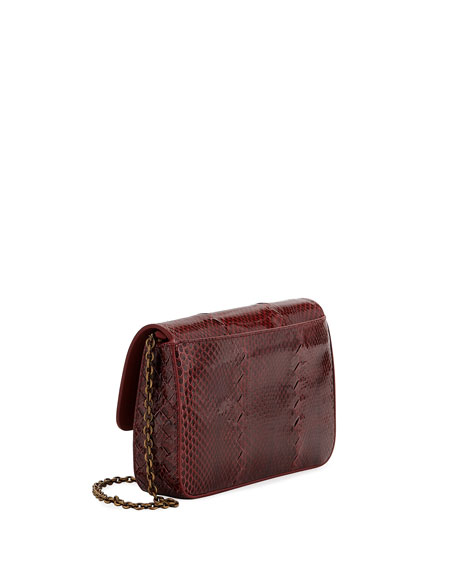 Bottega Veneta Ayers Snakeskin Wallet on Chain