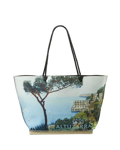 Espadrille Large Scenic Print Shoulder Tote Bag