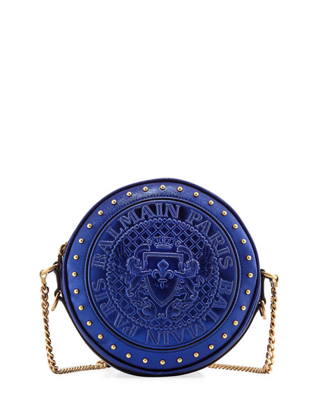 Balmain Disco Metallic Circle Crossbody Bag