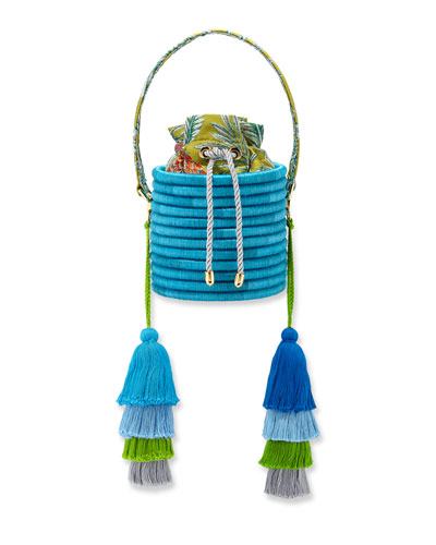 Monochrome Woven Straw Bucket Bag with Colorblock Tassels