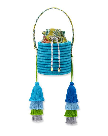 Maison Alma Monochrome Woven Straw Bucket Bag with Colorblock Tassels