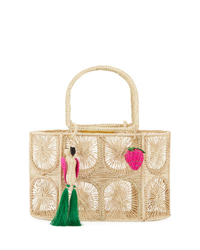 Threaded Straw Tote Bag