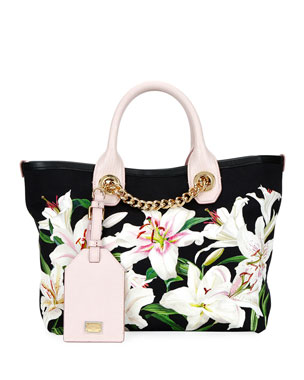 09e67510c999 Dolce   Gabbana Flower Canvas and Leather Shopper Tote Bag with Chain