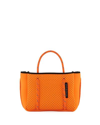Perforated Neoprene Small Crossbody Bag  Bright Orange