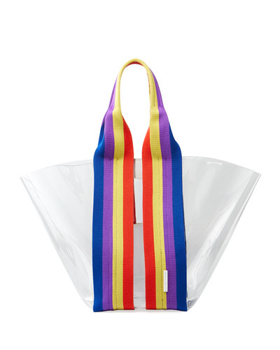 Fan See-Through Tote Bag with Rainbow Webbing