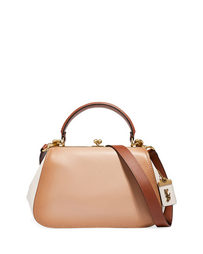 Colorblock Frame Top Handle Bag