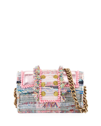 Hollywood Babe Woven Front-Flap Bag w/ Crossbody Chain Strap