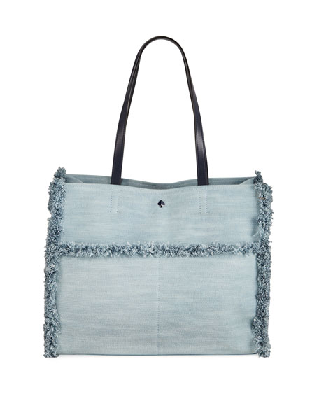 kate spade new york sam large denim pocket tote bag