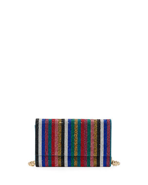 Judith Leiber Couture Fizzoni Candy Stripe Crystal Clutch Bag