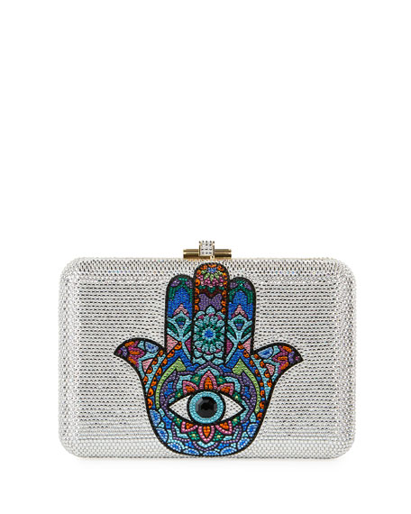 Judith Leiber Couture Slim Slide Hamsa Crystal Clutch Bag
