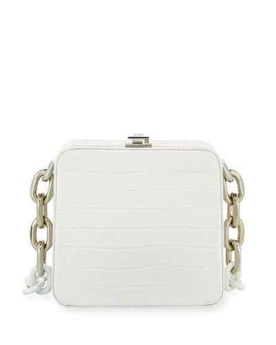 Cube Chain Crocodile-Print Shoulder Bag