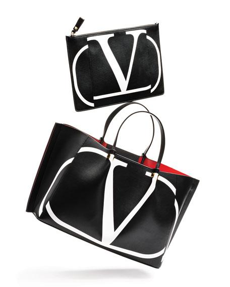 Valentino Garavani VLOGO Escape Small Calf Leather Tote Bag