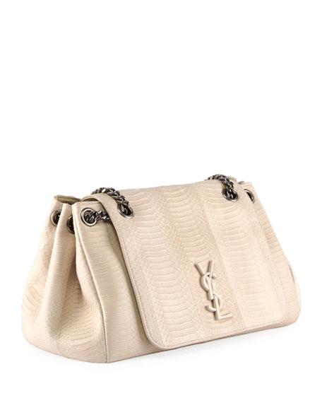 Saint Laurent Nolita Medium Ysl Monogram Snakeskin Flap Shoulder Bag In  White eb140e73b028d