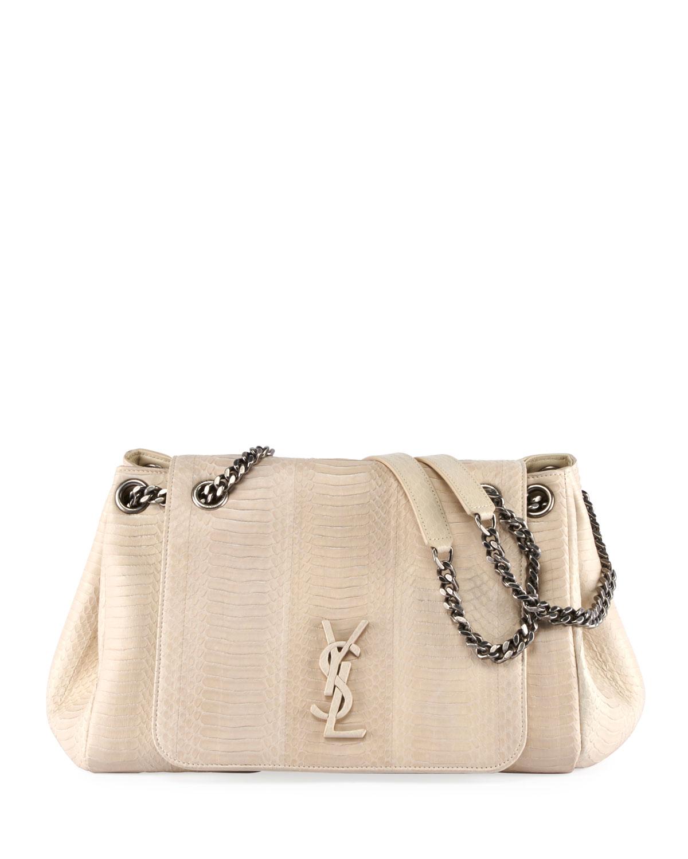 Saint Laurent Nolita Medium YSL Monogram Snakeskin Flap Shoulder Bag ... e7607e512a8be