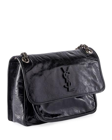 Saint Laurent Niki Medium Monogram YSL Shiny Leather Shoulder Bag