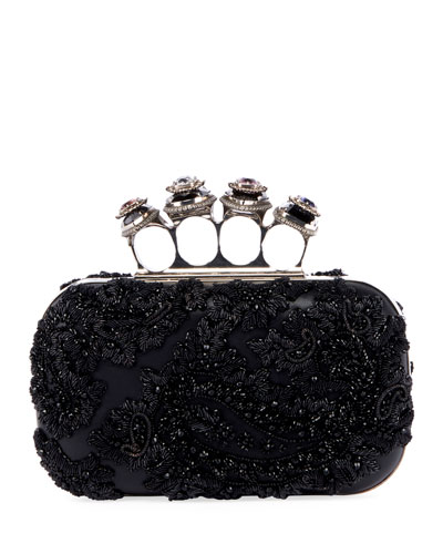 Jewelled Four Ring Clutch Bag