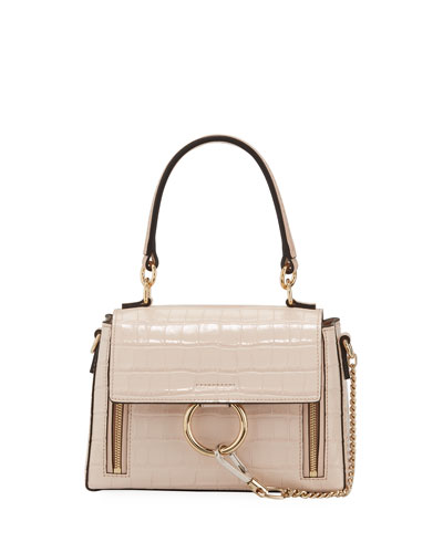Faye Day Small Croc-Embossed Shoulder Bag