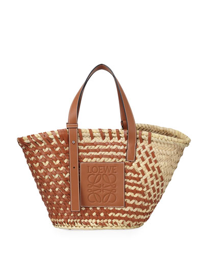 Large Woven Leather & Palm Tote Bag
