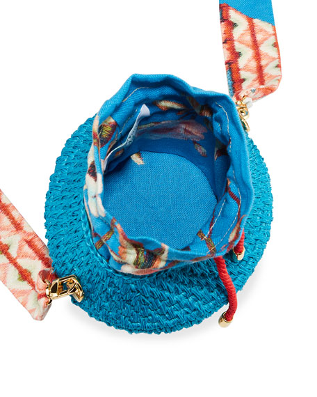 Maison Alma Diamond Basket Woven Bucket Bag