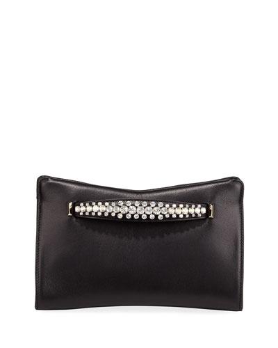 Venus Crystal-Handle Leather Clutch Bag