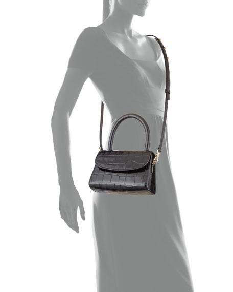 BY FAR Mini Crocodile-Embossed Top-Handle Bag