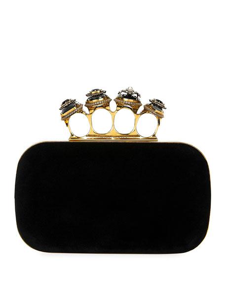 Alexander McQueen Jeweled Four-Ring Velvet Clutch Bag
